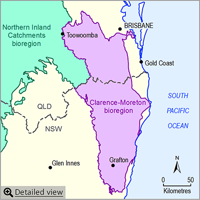 Thumbnail map of the Clarence-Moreton bioregion. Click image to view detailed map.