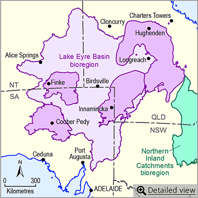 Thumbnail map of the Lake Eyre Basin bioregion. Click image to view detailed map.