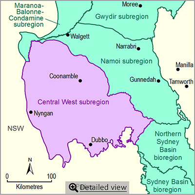 Thumbnail map of the Central West subregion. Click image to view detailed map.