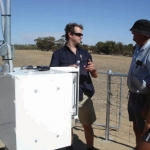 Field Hydrologist explains equipment upgrades to station owners in the Wheatbelt, Western Australia
