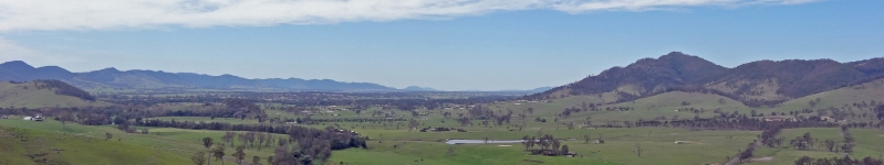 View of the Gloucester valley NSW with the Barrington River and associated riparian vegetation in the foreground and the township Gloucester in the distance looking south from the Kia Ora Lookout, 2013 Credit: Heinz Buettikofer, CSIRO