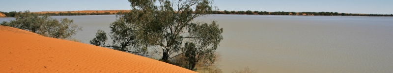 Photo of Coongie Lake Ramsar wetland with sand dunes in the foreground
